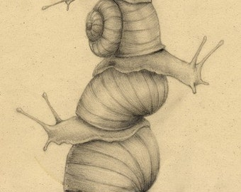 """snail tower drawing art print 8.5x11"""""""