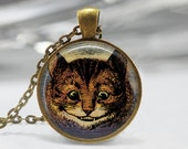 Cheshire Cat Necklace Alice In Wonderland Jewelry Fairytale Art Pendant in Bronze or Silver with Link Chain Included