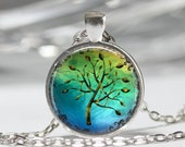 Tree Necklace, Tree of Life, Blue and Green Nature Art Pendant in Bronze or Silver with Link Chain Included