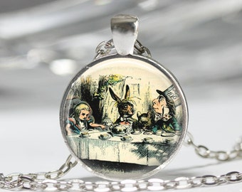 Alice In Wonderland Jewelry A Mad Tea Party Mad Hatter March Hare Fairy Tale Art Pendant in Bronze or Silver with Link Chain Included