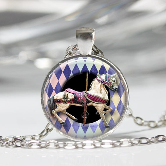 Carousel Horse Charm Necklace 925 Sterling Silver NEW Carnival Ride Circus 3D