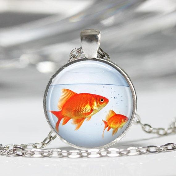 Halskette, Goldfischglas, Fisch Schmuck, Aquarium, Aquarium Fisch, Fisch Schale Kunst Anhänger in Bronze oder Silber mit Link Kette enthalten