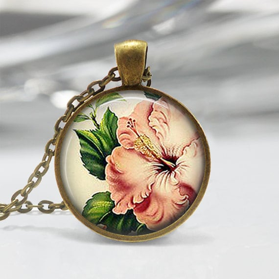Pink Hibiscus Necklace Tropical Flower Jewelry Hawaii Hawaiian Etsy