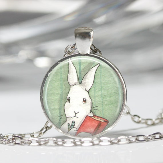 .925 SILV EASTER PLATE CHAIN *BUNNY RABBIT CAMEO NECKLACE WHITE ON SKY BLUE