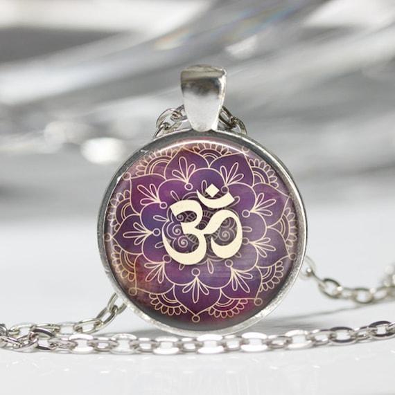 Om necklace yoga jewelry purple lotus flower om symbol mightylinksfo