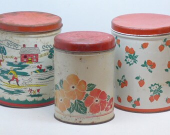 Set of 3 Decoware Tin Canisters - 1950s Decoware Tin Canister - Tin Kitchenware - Vintage Tin Canister - Kitchen Canister