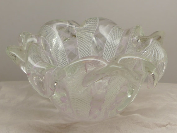 Vintage Art Glass Bowl Venetian Art Glass Vase Murano Etsy