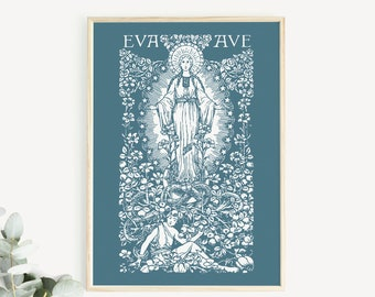 Eva to Ave Marian Garden Annunciation Print, Hail Mary vintage print, mother's day print catholic print, Blessed Mother, Mary art poster