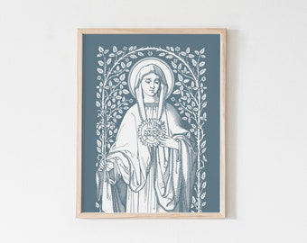 Immaculate Heart of Mary Floral Art Print, Heart of Mary vintage, Catholic art print, Catholic wall art, heart of Mary, Catholic inspiration