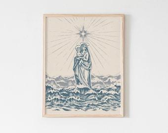 Star of the Sea Stella Maris Art Print, Hail Mary print, mother's day print catholic print, Blessed Mother, Marian poster, Mary catholic art