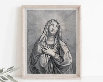Our Lady of Sorrows Vintage Style Catholic Art, Marian Art, Catholic Gift, Catholic Art, Catholic Gift, Mary Print, Lent art, Lenten print