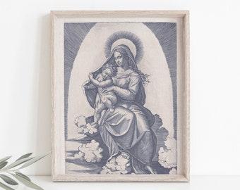 Vintage Madonna And Child Vintage Style Catholic Art Print, Marian Art, Catholic Gift, Catholic Art, Catholic Gift, Mary Print, Christmas