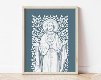 Sacred Heart of Jesus Vines Art Print, Heart of Jesus vintage, Catholic art print, Catholic wall art, heart of jesus, Catholic inspiration