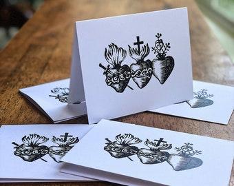 Set of 5 holy family three hearts notecard and envelope set  - Holy Family Note Card Set Hearts of Jesus Mary and Joseph - Catholic Cards