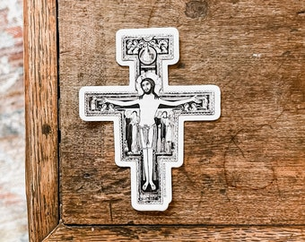 San Damiano Cross Sticker   Franciscan Cross Decal   Catholic Sticker for indoor & outdoor use   Catholic decal for laptop, car, waterbottle