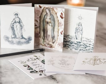 Marian Notecard Set of 6 or 12 assorted cards + envelopes A2 - Hail Mary, Rosary, Stella Maris, Guadalupe stationery for her, catholic gift