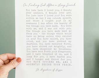 """St. Augustine """"Late Have I Loved You"""" Quote Print, Catholic Art, Saint Quote, Catholic Poster, Santa Clara Design, RCIA gift, confirmation"""
