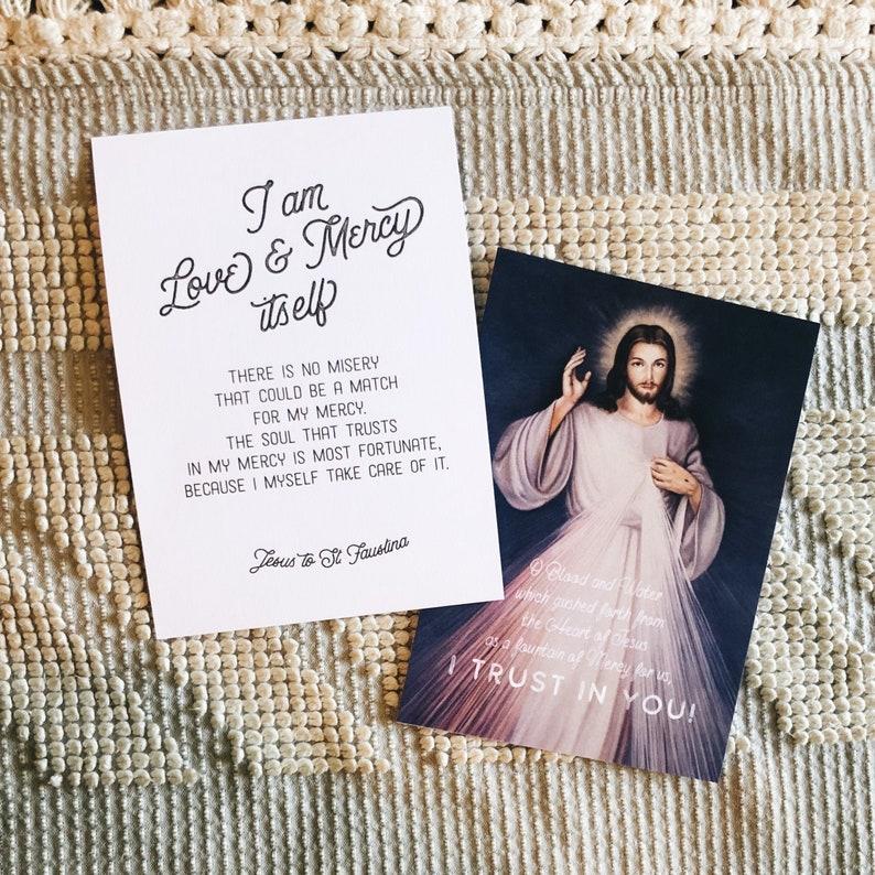 Easter Catholic art Divine Mercy Art Print Set of 2 prints Faustina quote Prayer Print Jesus I Trust in You image /&  St Catholic art
