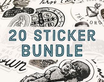 Discount 20 Sticker Bundle: Any 20 stickers, Catholic sticker, catholic stickers, catholic decals, laptop, yeti, catholic vinyl, auto decal