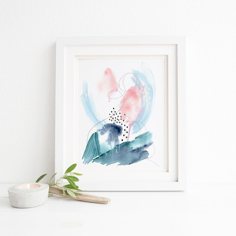 Modern Watercolor Print of Original Abstract Painting for Your Watercolor Wall Art and Modern Wall Decor Pink and Blue Abstract Wall Art