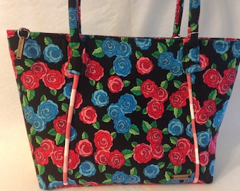 Melody handmade handbag/shoulder bag/tote/purse in red and blue roses print paired with red and white gingham piping/lining
