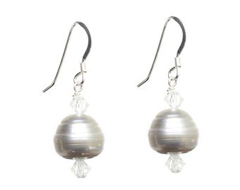 Sterling Silver 925 Earrings with Grey Freshwater Potato Pearls and Swarovski Crystals, Excellent for Weddings!!