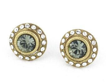Black Diamond Swarovski Crystal Stud Earrings in Matte Gold and Clear Diamond Swarovski Crystals