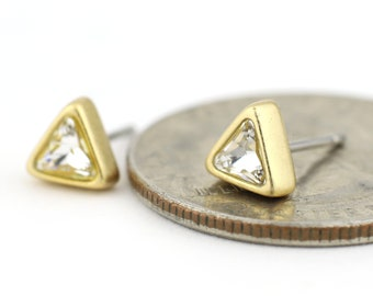 Tiny Swarovski Crystal Triangle Stud Earrings in Matte Gold