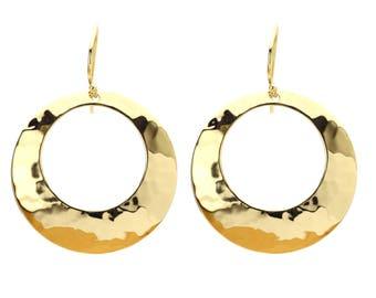Vintage 18k Gold Vermeil Dangle Hoop Earrings Hammered Gold