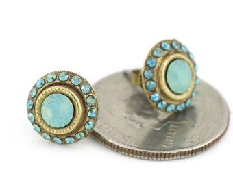 Pacific Opal Swarovski Crystal Stud Earrings in Matte Gold and Teal Swarovski Crystals