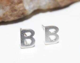 d34b49e3e Initial Stud Earrings Small Letter B Stud Earrings Sterling Silver 925 Letter  earrings. Alphabet earrings