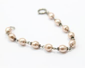 "Pearl Bracelet with Pewter Spacers 7"""