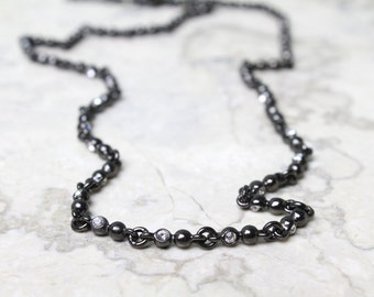 Gunmetal Necklace with Swarovski Crystals Embedded Throughout the Necklace