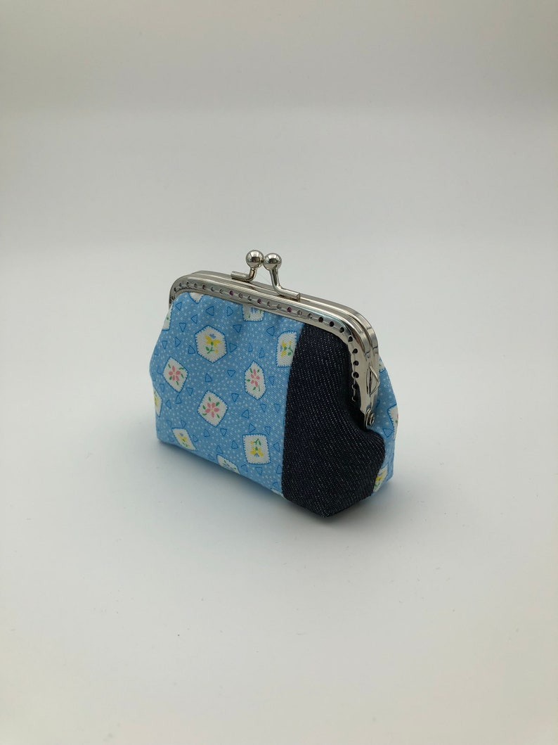 Blue Floral with Patched Denim Free Shipping Coin  Purse  Framed Purse  Clasp Purse  Kisslock Purse