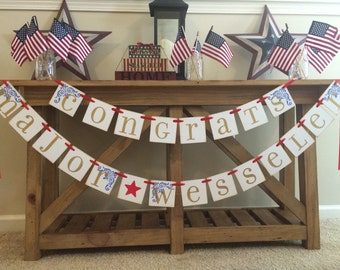 Military Promotion Party Garland Banner Custom With Your Last Name. Army, Navy, Air Force, Coast Guard, Marines Sign, Military Party Decor