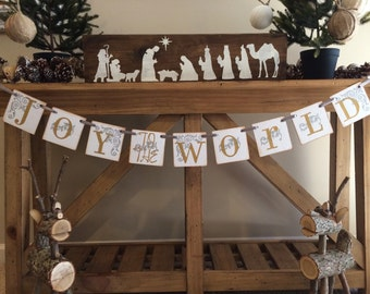 Christmas Banner Joy to the World Christmas Garland - Christmas Decoration Gold and Silver