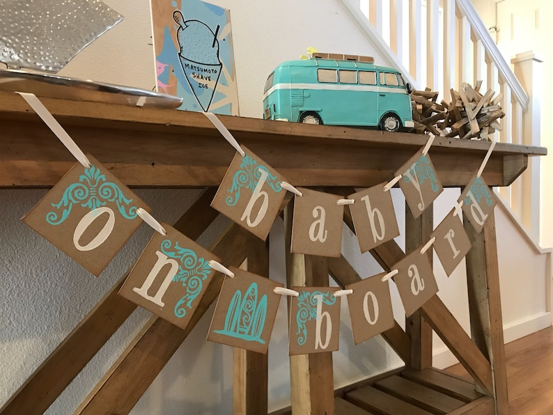 Boy or Girl Baby Shower Turquoise and Cream Rustic Baby Shower Baby On Board Baby Shower Decoration Surfing Baby Shower