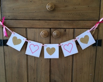 Valentine Banner Gold and Pink Hearts Banner and Garland Decor For Valentines Day, Baby Shower, Girls Room Decor