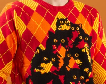 Optical Argyle Kitty Sweater in Red