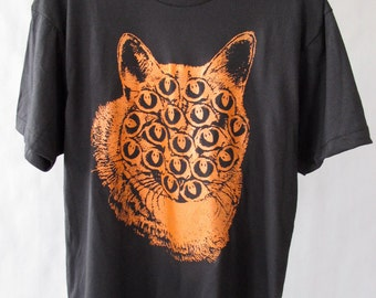 Black and Orange Mutant Cat T Shirt. Large