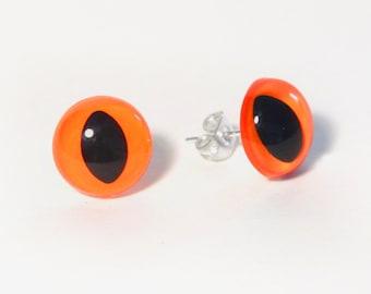 Neon Orange Kitty Eye Earrings