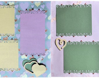 True Love Pastel Premade Embellished Two-Page 12 x 12 Scrapbook Layout by SSC Designs