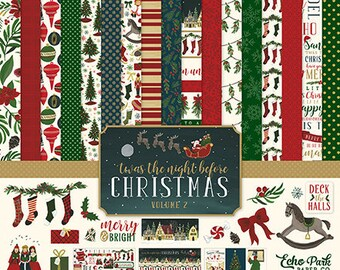 Echo Park Twas The Night Before Christmas Paper CollectionEphemeraSticker sheetChristmas DiesCardstock stickersphotopolymer stamps
