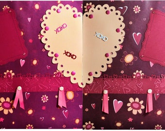 Valentine's Day Premade Embellished Two-Page 12 x 12 Scrapbook Layout by SSC Designs