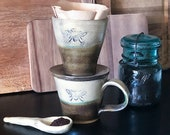 Stoneware pour over coffee dripper and mug