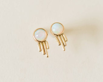 MADE-TO-ORDER: Shooting Star Studs in Ethiopian Opal & 10K Yellow Gold, Opal, Gold, Gemstone Earrings