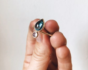 READY-TO-SHIP: London Blue Topaz & Chalcedony set in 10K Yellow Gold, Teal and Gold Ring, Teal Minimalist Ring, Pear Shape Stone Ring