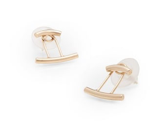 READY-TO-SHIP: Double Bar Ear Jacket in Yellow Gold-Fill, Rose Gold-Fill & Sterling Silver, Ear Jacket, Gold, Rose, Statement Earring