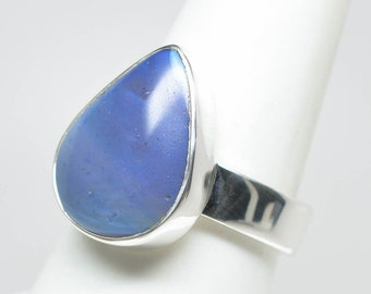 Leland Blue (Pioneer Swirl) Ring - Sterling Silver - Size 8.5