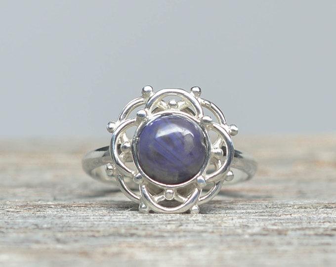 Leland Blue (Pioneer Swirl) Ring - Sterling Silver - 8mm - Size 8 3/4